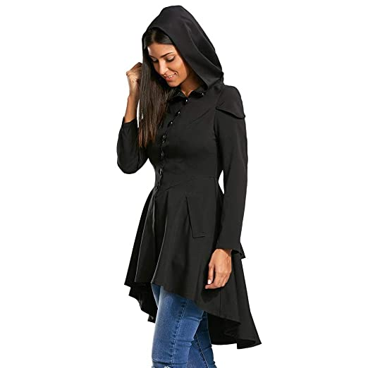 Image Unavailable. Image not available for. Color  Jebess Women Winter Long  Sleeve Layered Lace Up High Low Hooded Coat ... b39661d72