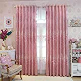 pureaqu Embroidered Floral Heart Shape Room Darkening Curtain Drapes for Living Room Grommet Blackout Heavy Curtain Draperies for Bedroom/Sliding Patio Door 1 Panel W75 x H96 Inch