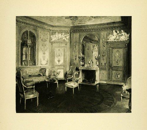 1920 Photogravure Boudoir Queen Marie Antoinette Palace Fontainebleau France Art - Original Photogravure (Antoinette Stock)