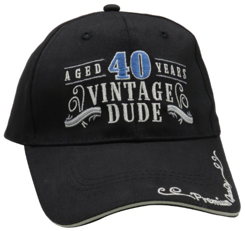 Laid Back 40th Birthday Vintage Dude Hat, Adjustable, Black]()