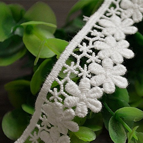 (Ivory 5 Yards Grace Daisy Fringe Venise Lace Fabric Ribbon Dress Lace Craft Home Party Decorations 1 Inch Wide)