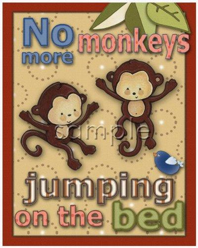 Kidsline Jungle 123 - No More Monkeys Jumping on the Bed Nursery Art Set (8
