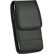 Oversize Heavy Duty V Canvas Nylon Pouch Case Metal Clip Holster Fits Apple iPhone 5S 5 SE 6 6S 7 8 with OTTERBOX ARMOR case on it