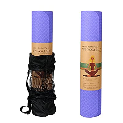 Yoga Mat, Easylife Natural Eco friendly Exercise Mat, Hot Yoga Mat [ TPE Material ], High Intensity, Anti-Slip, Double-Deck, Extra Thick Mat 72*24*0.2 inches with Carrying Bag & Carrying Strap