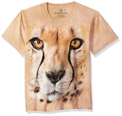 Kids Cheetah - The Mountain Kids Big Face Cheetah Endanger USA T-Shirt, Large, Sand