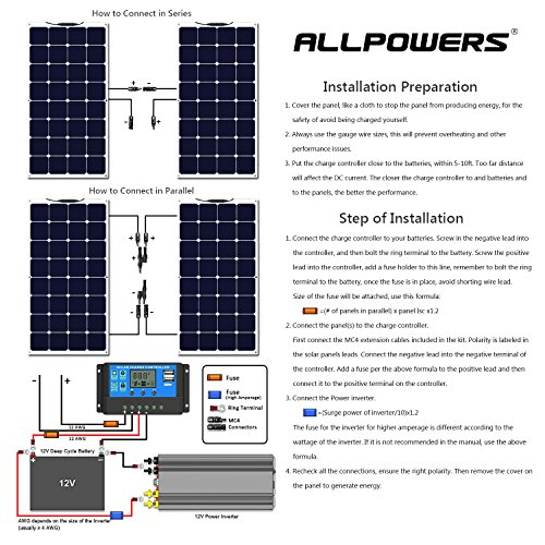 ALLPOWERS Solar Panel 100W 18V 12V Bendable Flexible Solar Charger SunPower Solar Module with MC4 for RV, Boat, Cabin, Tent, Car, Trailer, 12v Battery or Any Other Irregular Surface