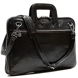 Floto Firenze Slim Briefcase in Black Calfskin Leather