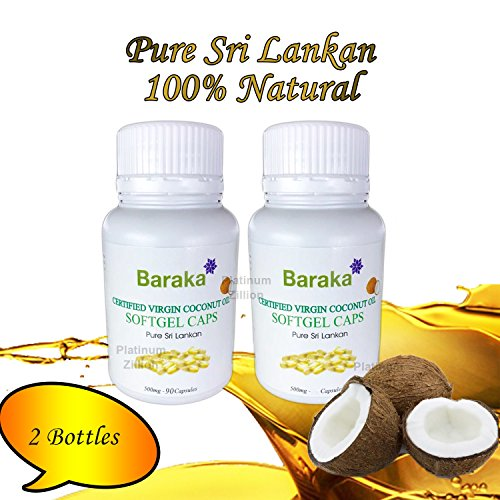 Oil 1000 Mg 90 Gels (Pure Sri Lanka Virgin Coconut Oil Soft Gel Caps X 2 (One Bottle Contains 90 Capsules))