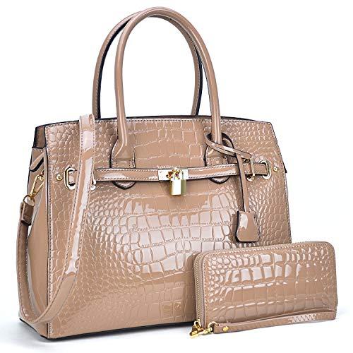 (Women Patent Leather Purses and Handbags Ladies Tote Bag Padlock Shoulder Bag Top Handle Satchel with Wallet (Croco- Nude))