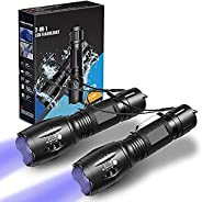 LETION Flashlights with Black light, 2 Pack, Combines UV Light & LED Flashlight, 500LM Highlight. 4 Mode,