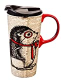 Cypress Home Office Hedgehog Ceramic Travel Coffee Mug, 17 ounces