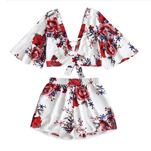 Casual Women Shirt Set Botanical Print Summer V Collar Top Shorts Beachwear by Topunder (Red, Medium) - Blouse Set
