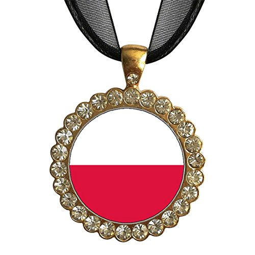 GiftJewelryShop Gold-plated Poland flag White Crystal Charm Pendant Necklace (Poland Crystal Pendant)