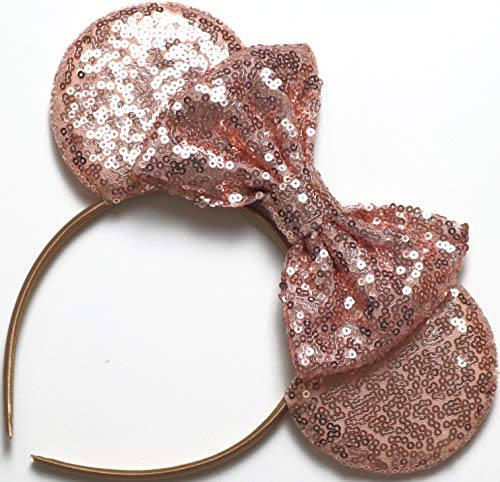 CLGIFT Rose Gold Mickey Ears, Sparkly Mickey Ears, Rose Gold Minnie Ears, Rose Gold Ears, Handmade, one Size fits All -