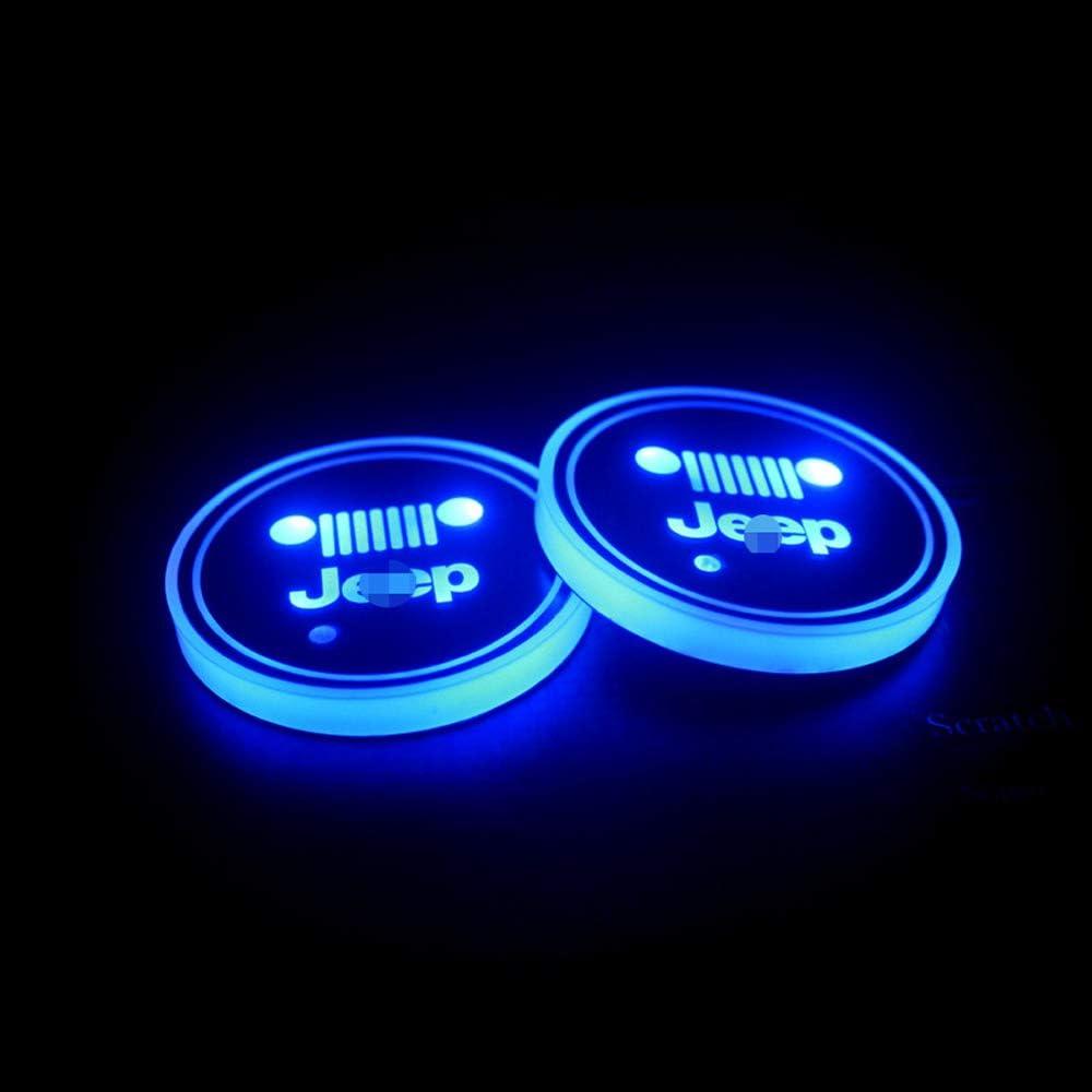 7 Colori Che cambiano USB di Ricarica Mat luminescenti Rilievo della Tazza,Style1 2pcs dellautomobile LED Logo della Coppa Pad Holder per Jeep