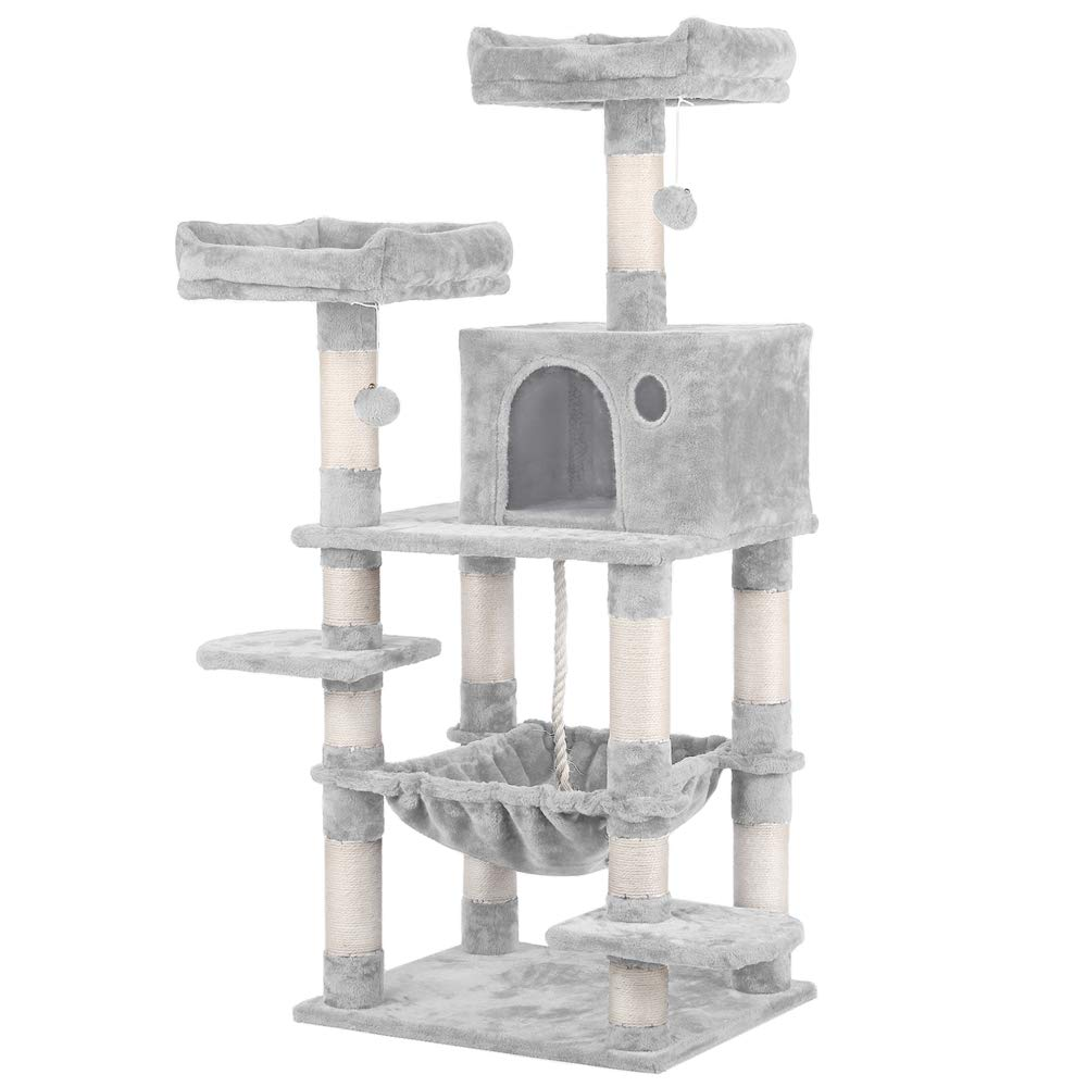Yaheetech 58in Luxurious Multi-Level Cat Tree Condo, Stable Kitten Activity Tower Play House with Sisal-Covered Scratching Posts Perches Hammock and Funny Toys by Yaheetech