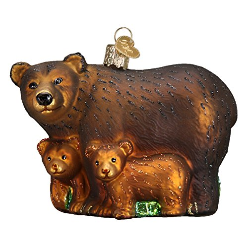 Old World Christmas Ornaments: Bear with Cubs Glass Blown Ornaments for Christmas Tree