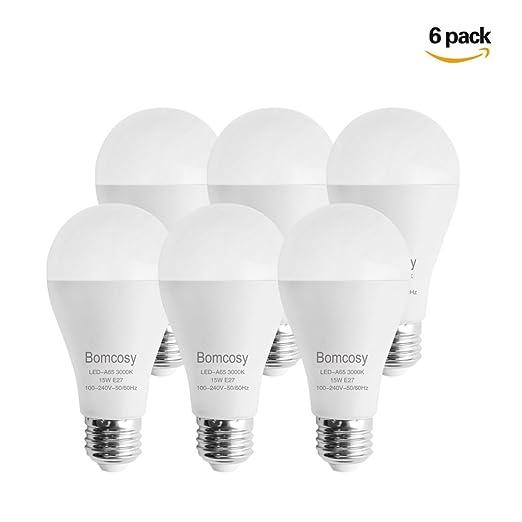 9 opinioni per Bomcosy Lampadine LED E27, 15 W Equivalenti a 100 W, Bianco Caldo 3000K, 1200