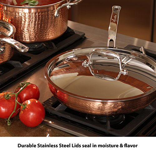 Lagostina Q554SA64 Martellata Tri-ply Hammered Stainless Steel Copper Oven Safe Cookware Set, 10-Piece, Copper by Lagostina (Image #4)