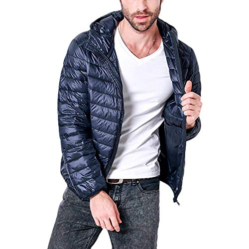 Down Jacket Mens with High Collar Coat Hooded Cotton Jacket Jacket Young Fashion Parka Fall Winter Blau