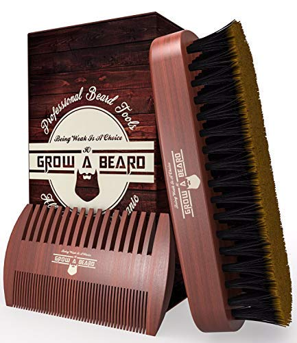 Beard Brush & Comb Set for Men Care - Gift Box & Friendly Bag - Best Bamboo Grooming Kit Great to Distributes Balm or Oil for Growth & Styling - Adds Shine & Softness (Brown)