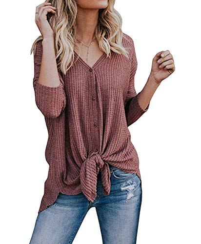 TIMOCHALA Womens Loose Henley Blouse Bat Wing Long Sleeve Button Down T Shirts Tie Front Knot Tops (M, Rust Red)
