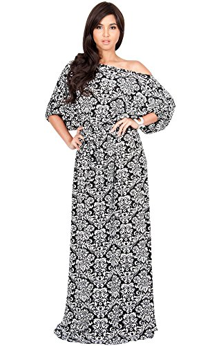b95b778c156 KOH KOH Plus Size Women Long Sexy One Off Shoulder Flowy Summer Bohemian  Boho Print Floral Casual Short 3 4 Sleeve Gown Gowns Maxi Dress Dresses