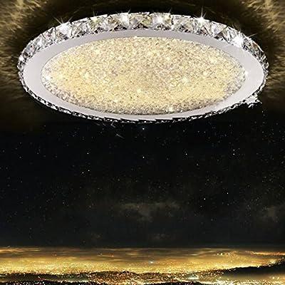Cozyfoci® 054YMJ Chrome Flush Mount Luxury Modern LED Ceiling Light K9 Crystal 40cm Dia