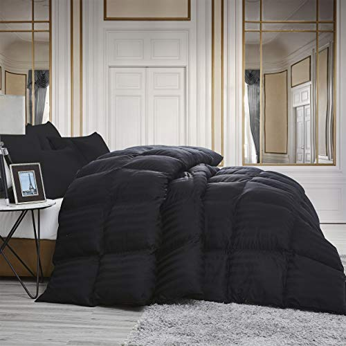 Luxurious All-Season Goose Down Comforter Queen Size Duvet Insert, Exquisite Black Stripe Design, 1200 Thread Count 100% Egyptian Cotton Down Proof Fabric, 750+ Fill Power, 55 oz Fill ()