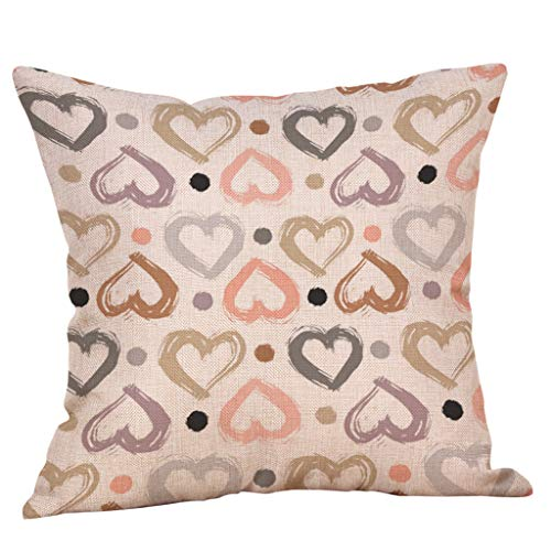 Littay Throw-Pillow-Covers, Happy Valentine's Day Throw Pillow Case Sweet Love Square Cushion Cover ()