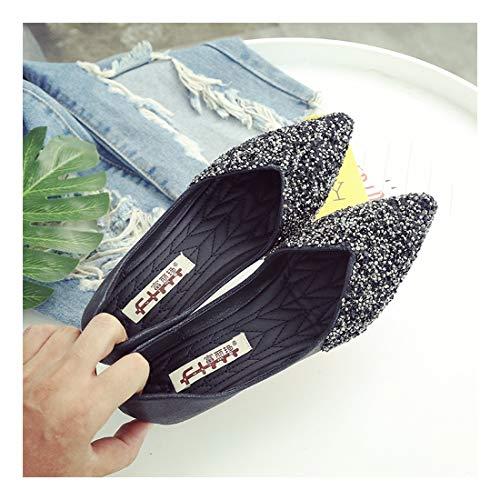 Superficial Embellecedor Puerto Zapatos Multi Gamuza Touch Taladro WULIFANG Hueco Abalorios Sugerencia Gris Diamond 35 Baotou Metálico Mujer De Negro PxYqAFwFR