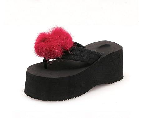 sandali aperti lanciano pantofole scivolare femminili scarpe coniglio mano-palla tacco alto selvatici , US5.5 / EU35 / UK3.5 / CN35 , c