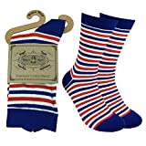 Fine Fit Men's Multicolor Blue striped Luxury Cool Cotton Socks - Funky Fun Casual Fashion Argyle Socks Collection- Single Pairs