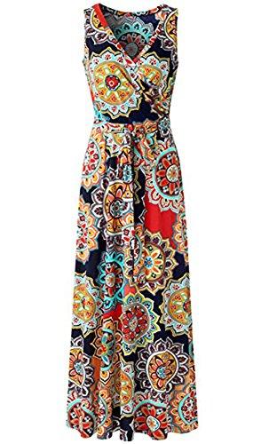 Crossover Bodice Dress (JOKHOO Womens Bohemian Printed Wrap Bodice Sleeveless Crossover Maxi Dress (Navy, M))