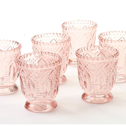 Koyal Wholesale Vintage Glass Candle Holder (Pack of 6), 3 x 2.75 (Blush ()