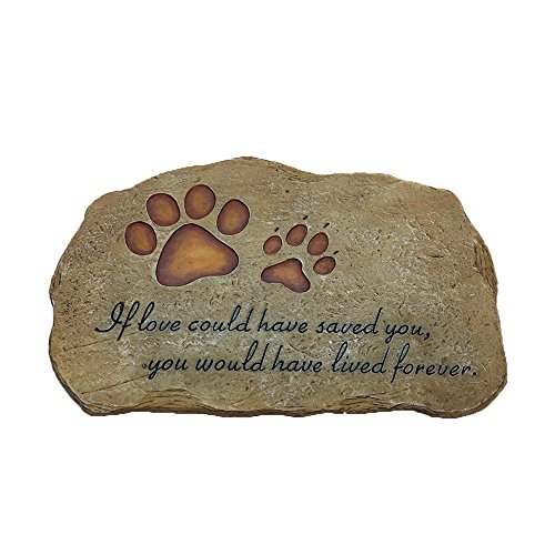 ONETKM Pet Memorial Stones For Dog or Cat,Cute Tombstone Engraved With Sympathy Poem & Paw In Hand Design,Garden Decoration Stone With Footprint,Meaning Gift For Indoor Or Outdoor by ONETKM