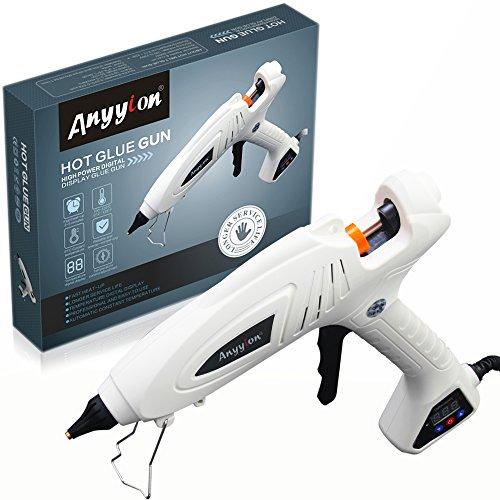 Hot Glue Gun, Anyyion 300W Industrial Glue Gun High Temperature Digital Display Hot Melt Glue Gun,White by Anyyion