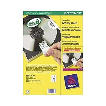 Avery - Etiquetas anti-manomissione para impresora láser Avery ...