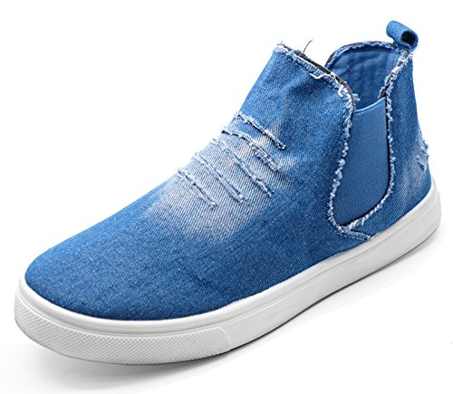 HeelzSoHigh Ladies Flat Blue Denim Pull-On Casual Ankle Chelsea Dealer Comfy Boots Sizes 3-8