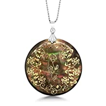 """1.5"""" 18K Gold Inlay in 45mm Flower Simulated Mother of Pearl Circular Pendant 18"""" Chain"""