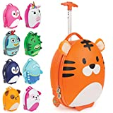 Boppi Tiny Trekker Kids Luggage Travel Suitcase Carry On Cabin Bag Holiday Pull Along Trolley Lighweight Wheeled Holdall 17 Litre Hand Case - Tiger