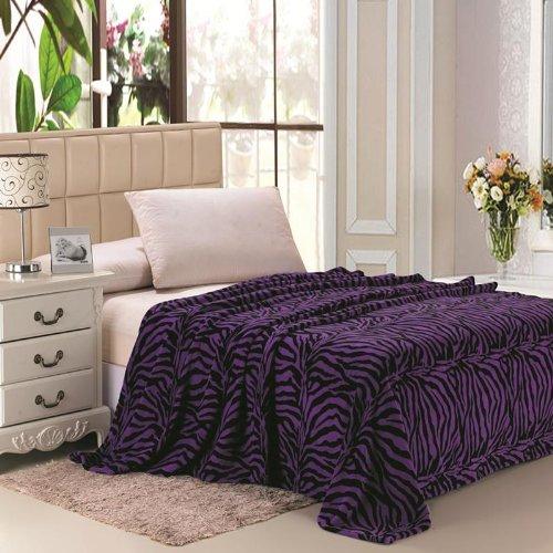 Plazatex Animal Prints MicroPlush Zebra Full Blanket Purple & Black