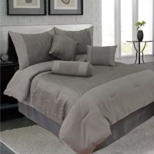 Lavish Home 7-Piece Emily Jacquard Comforter Set, Queen