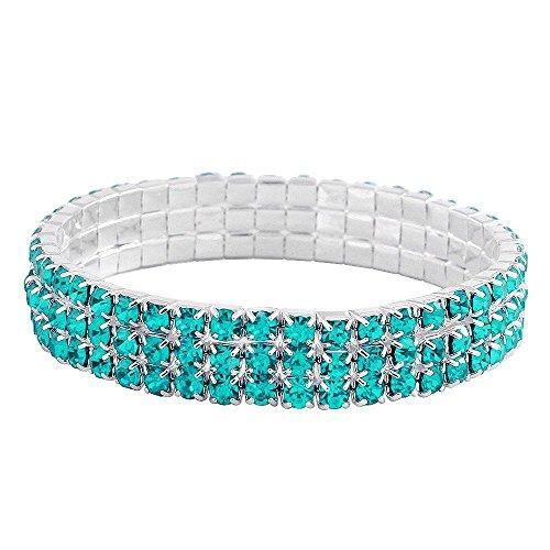 Aqua Blue Rhinestone (Falari Rhinestone Crystal Stretch Bracelet Sparkle Wedding Bridal 3 Rows Aqua-Blue)