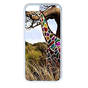 iCustomonline Colorful Giraffe Fashion Hard Back PC White Case Cover for iPhone 6 (4.7 inch)