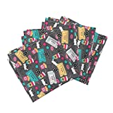 Roostery Movies Film Theater Retro Popcorn Camera Movie Linen Cotton Dinner Napkins Let's Go See A Movie Film by Littlesmilemakers Set of 4 Dinner Napkins