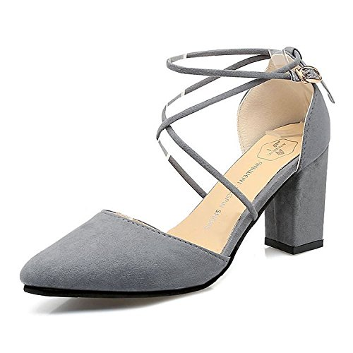 de moda de gray afilados RUGAI zapatos de verano tacón y nuevos cómodos UE gruesos Sandalias mujer wqIX1z