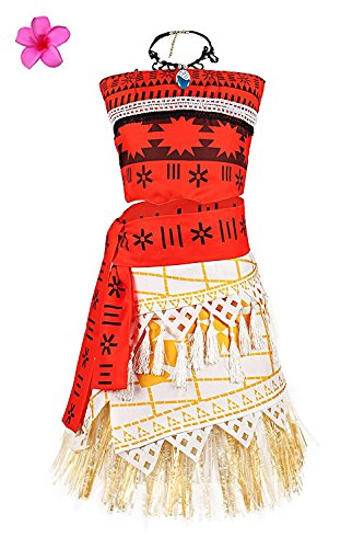 Litcuter Girls Princess Moana Costume for Christmas with Necklace and Plumeria Flower for Girls 2-10Y (Red, 9-10)