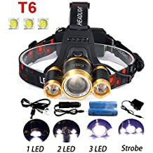 5000Lumen Bright 3 CREE XM-L XML T6 LED Headlamp Flashlight Torch 4 Modes Headlight Headlamps with Rechargeable Batteries for Hiking Camping Outdoor Riding Night Fishing Hunting