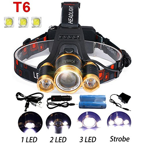 5000Lumen Bright 3 CREE XM-L XML T6 LED Headlamp Flashlight Torch 4...